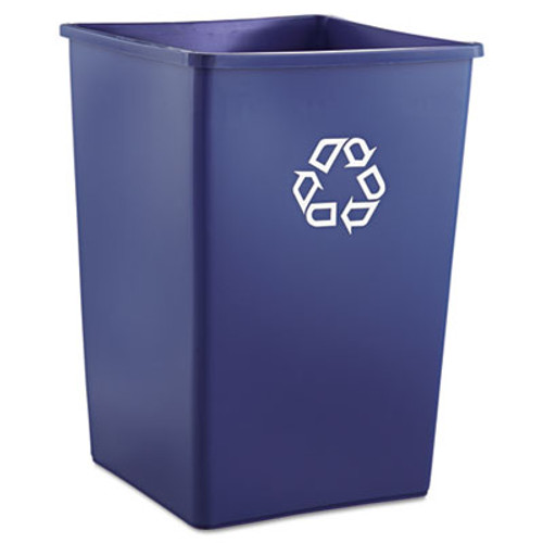 Rubbermaid Recycling Container, Square, Plastic, 35gal, Blue (RCP 3958-73 BLU)