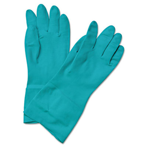 Boardwalk Flock-Lined Nitrile Gloves, Medium, Green, Dozen (BWK 183M)