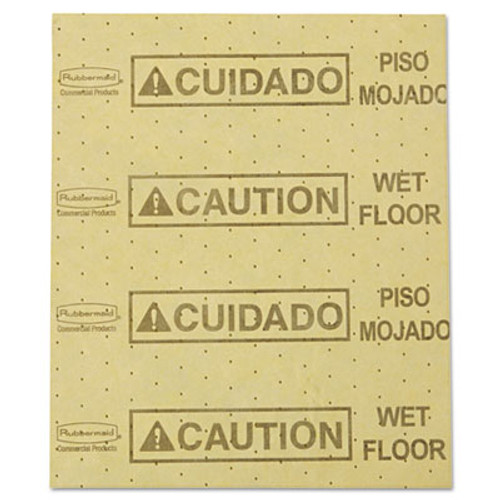 """Rubbermaid Over-the-Spill Pad, """"Caution Wet Floor"""", Yellow, 16 1/2"""" x 20"""", 22 Sheets/Pad (RCP 4252 YEL)"""