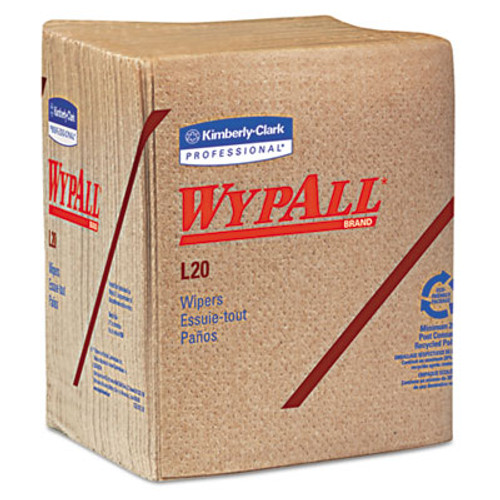 WypAll* L20 Towels, 1/4 Fold, 2-Ply, 12 1/2 x 13, Brown, 68/Pack, 12 Packs/Carton (KCC 47000)