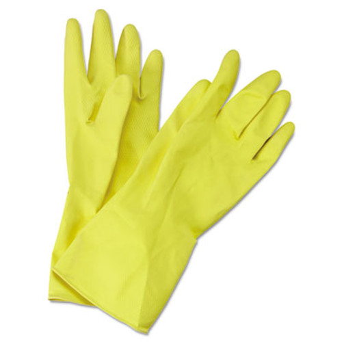 Boardwalk Flock-Lined Latex Cleaning Gloves, Medium, Yellow, 12 Pairs (BWK 242M)