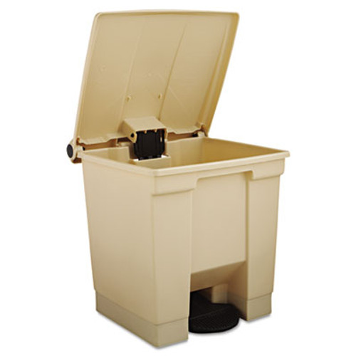 Rubbermaid Indoor Utility Step-On Waste Container, Square, Plastic, 8gal, Beige (RCP 6143 BEI)