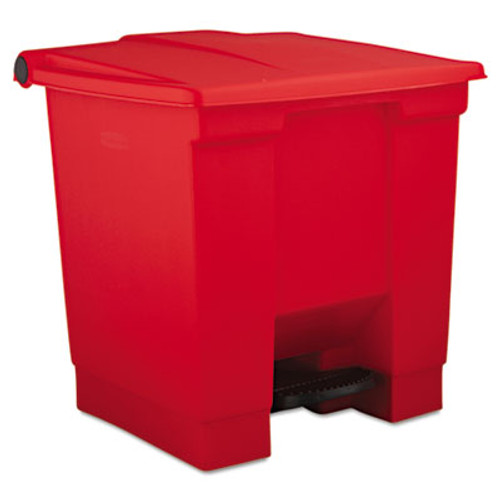 Rubbermaid Indoor Utility Step-On Waste Container, Square, Plastic, 8gal, Red (RCP 6143 RED)