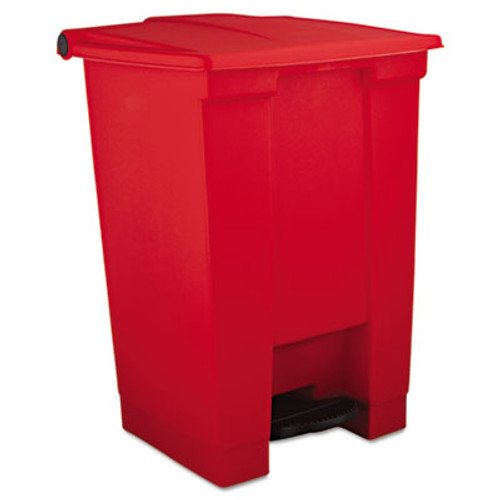 Rubbermaid Indoor Utility Step-On Waste Container, Square, Plastic, 12gal, Red (RCP 6144 RED)