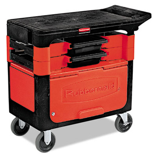 Rubbermaid Locking Trades Cart, 330-lb Cap, Two-Shelf, 19-1/4w x 38d x 33-3/8h, Black (RCP 6180-88 BLA)