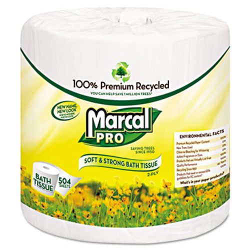 Marcal PRO 100% Recycled Bath Tissue, Two-Ply, White, 500 Sheets/Roll, 48 Rolls/Carton (MAC 5001)