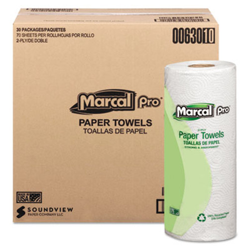Marcal 100% Premium Recycled Towels, 2-Ply, 11 x 9, White, 70/Roll, 30 Rolls/Carton (MAC 630)