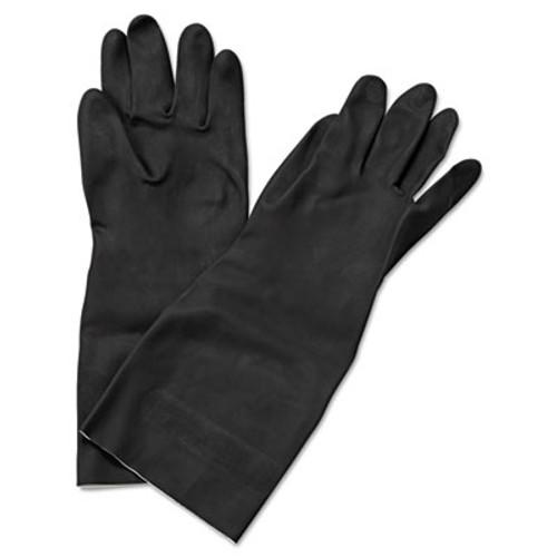 """Boardwalk Neoprene Flock-Lined Gloves, Long-Sleeved, 12"""", Medium, Black, Dozen (BWK 543M)"""