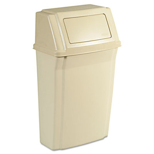 Rubbermaid Slim Jim Wall-Mounted Container, Rectangular, Plastic, 15gal, Beige (RCP 7822 BEI)