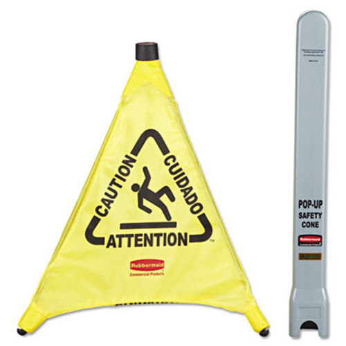 "Rubbermaid Multilingual ""Caution"" Pop-Up Safety Cone, 3-Sided, Fabric, 21 x 21 x 20, Yellow (RCP 9S00 YEL)"