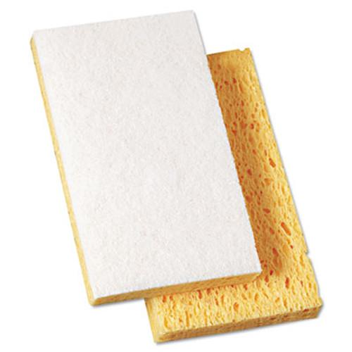 """Boardwalk Scrubbing Sponge, 3 3/5"""" x 6 1/10"""", 7/10"""" Thick, Yellow/White, 20/Carton (PAD 163-20)"""