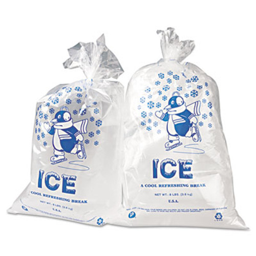 Inteplast Group Ice Bag, 11 x 20, 8lb Capacity, 1.5mil, Clear/Blue, 1000/Carton (IBS IC1120)