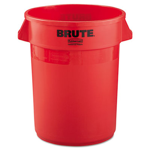 Rubbermaid Round Brute Container, Plastic, 32 gal, Red (RCP 2632 RED)