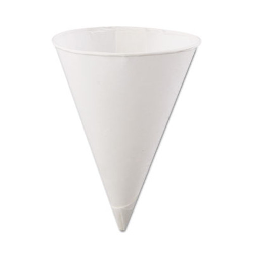 Konie Rolled Rim Paper Cone Cups, 4.5oz, White, 200/Bag, 25 Bags/Carton (KCI 4.5KR)