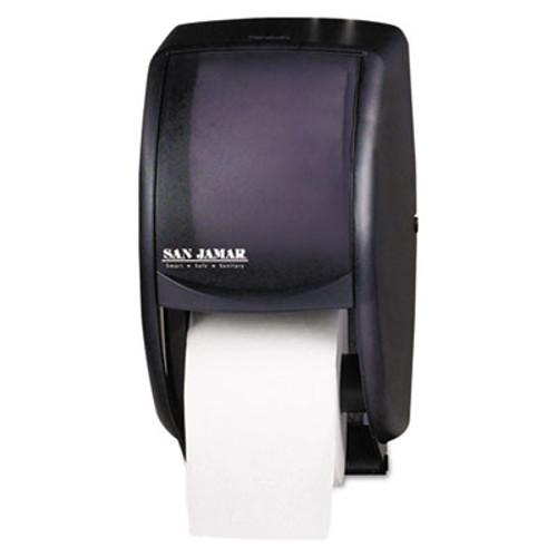 San Jamar Duett Standard Bath Tissue Dispenser, 2 Roll, 7 1/2w x 7d x 12 3/4h, Black Pearl (SAN R3500TBK)