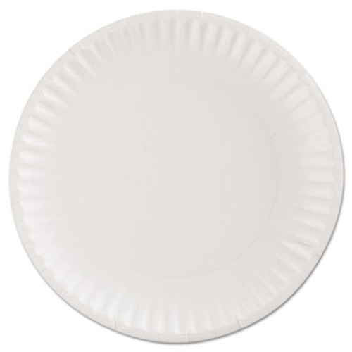 "AJM Packaging Corporation Gold Label Coated Paper Plates, 9"" dia, White, 100/Pack, 10 Packs/Carton (AJMCP9GOEWH)"