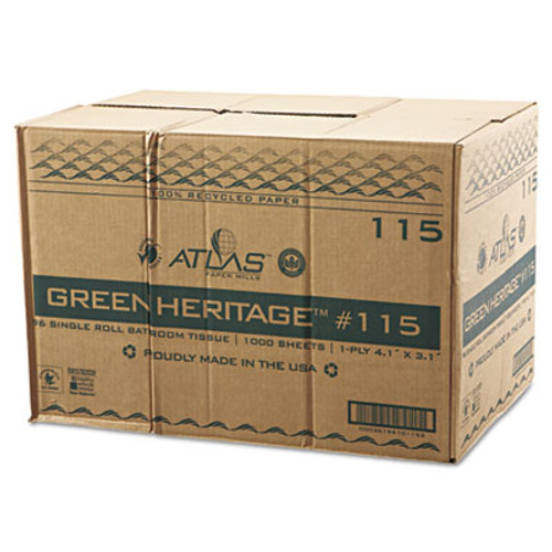 Atlas Paper Mills Green Heritage Toilet Tissue, 3.8 x 3.1 Sheets, 1Ply, 1000/RL, 96 Rolls/CT (APM115GREEN)