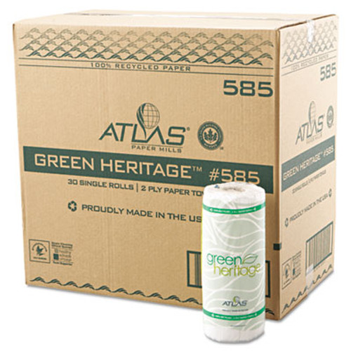 "Atlas Paper Mills Green Heritage Kitchen Roll Towels, 11"" x 8"", White, 85/Roll, 30 Rolls/Carton (APM585GREEN)"