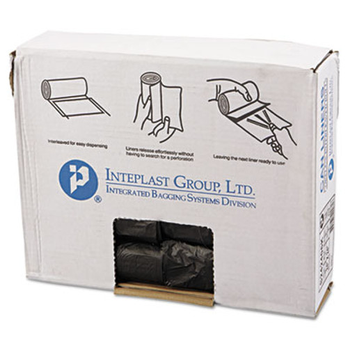 Inteplast Group Interleaved High-Density Can Liners, 24x24, 10gal, 6mic, BK, 50/RL, 20 RL/CT (IBS S242406K)