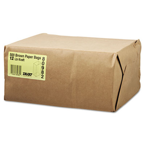 General #12 Paper Grocery Bag, 40lb Kraft, Standard 7 1/16 x 4 1/2 x 13 3/4, 500 bags (BAG GK12-500)