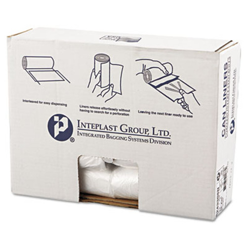 Inteplast Group High-Density Can Liner, 24 x 33, 16gal, 8mic, Clear, 50/Roll, 20 Rolls/Carton (IBS S243308N)