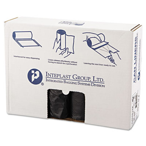 Inteplast Group High-Density Can Liner, 40 x 48, 45gal, 12mic, Black, 25/Roll, 10 Rolls/Carton (IBS S404812K)