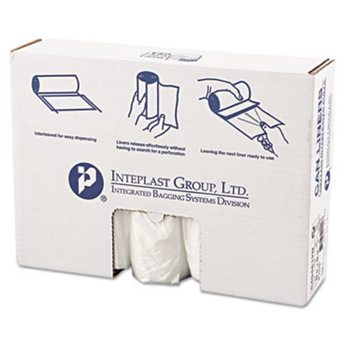 Inteplast Group High-Density Can Liner, 40 x 48, 45gal, 12mic, Clear, 25/Roll, 10 Rolls/Carton (IBS S404812N)