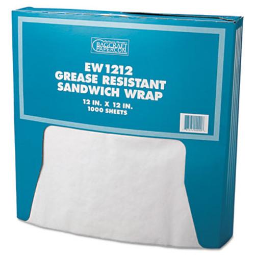 Bagcraft Grease-Resistant Paper Wrap/Liner, 12 x 12, White, 1000/Box, 5 Boxes/Carton (BGC 057012)