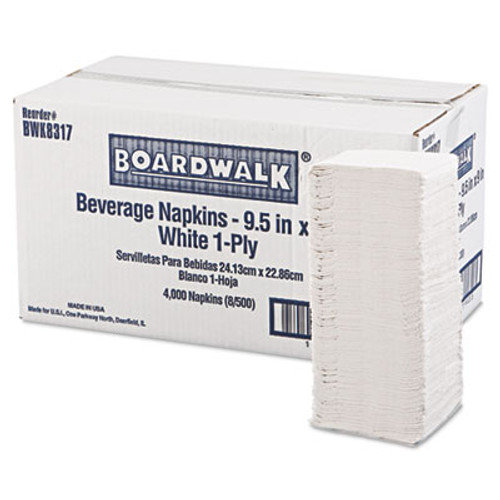 "Boardwalk Beverage Napkins, 1-Ply, 9 1/2"" x 9"", White, 4000/Carton (BWK 8317)"
