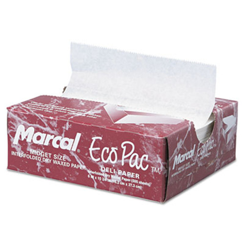 Marcal Eco-Pac Interfolded Dry Wax Paper, 6 x 10 3/4, White, 500/Pack, 12 Packs/Carton (MCD 5290)