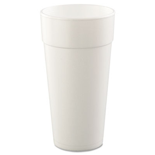 Dart Drink Foam Cups, Hot/Cold, 24oz, White, 25/Bag, 20 Bags/Carton (DCC 24J16)
