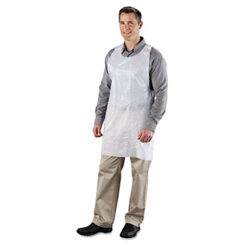 Royal Poly Apron, White, 24 in. W x 42 in. L, One Size Fits All, 1000/Carton (RPP DA2442)