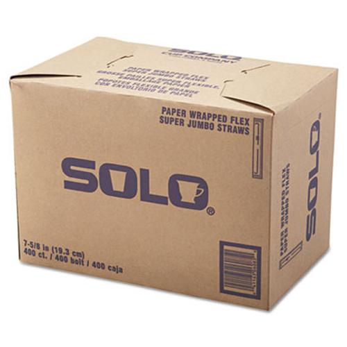 """Dart Wrapped Super-Jumbo Flexible Straws, 7 5/8"""", White, 10000/Carton (SCC 875WX)"""