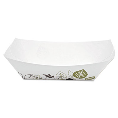 Dixie Kant Leek Paper Food Tray, 1-Comp, White/Green/Burgundy, 6.25 x 4.69 x 3 (DIX KL100PATH)