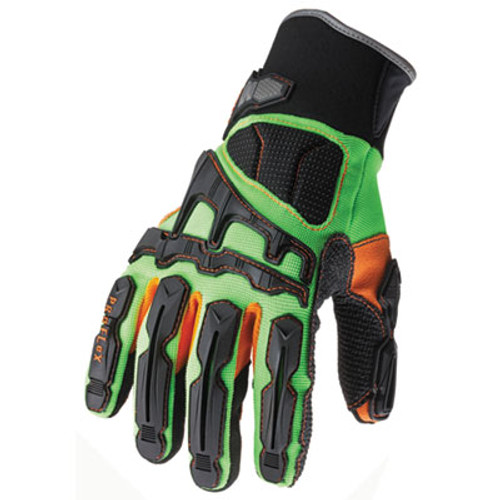 ergodyne ProFlex 925F(x) Dorsal Impact-Reducing Gloves,Black-Green-Orange, X-LG, 6 PR/CT (EGO 16055)