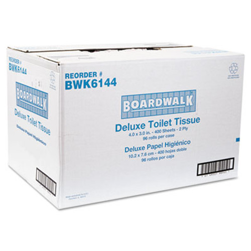 Boardwalk Two-Ply Toilet Tissue, White, 4 x 3 Sheet, 400 Sheets/Roll, 96 Rolls/Carton (BWK 6144)