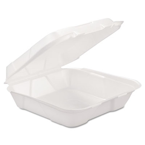 GEN Foam Hinged Carryout Container, 1-Comp, White, 9 1/4 X 9 1/4 X 3, 200/Carton (GEN HINGEDL1)