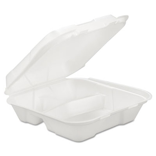 GEN Foam Hinged Carryout Container, 3-Comp, White, 9 1/4 X 9 1/4 X 3, 200/Carton (GEN HINGEDL3)