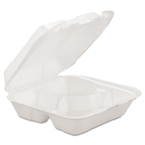 GEN Foam Hinged Carryout Container, 3-Comp, White, 8 X 8 1/4 X 3, 200/Carton (GEN HINGEDM3)