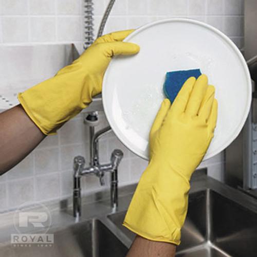 Royal Flocked-Lined Gloves, Medium, Yellow, 144 Pairs/Carton (RPP RHG144M)