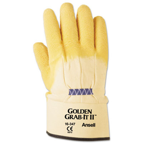 AnsellPro Golden Grab-It II Heavy-Duty Work Gloves, Size 10, Latex/Jersey, Yellow, 12 PR (ANS1634710)