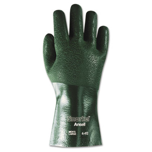 AnsellPro Snorkel Chemical-Resistant Gloves, Size 10, PVC/Nitrile, Green, 12 PR (ANS441210)