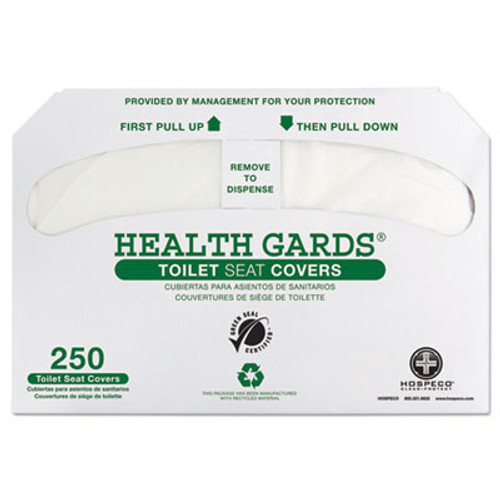 HOSPECO Health Gards Green Seal Recycled Toilet Seat Covers, White, 250/PK, 4 PK/CT (HOS GREEN-1000)