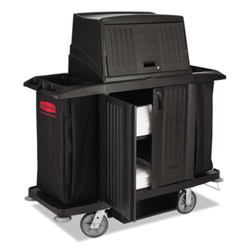 Rubbermaid Full Size Housekeeping Cart with Doors, 22w x 60d x 67 1/2h, Black (RCP 9T19 BLA)