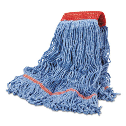 Boardwalk Cotton Mop Heads, Cotton/Synthetic, Large, Looped End, Wideband, Blue, 12/CT (BWK LM30311L)