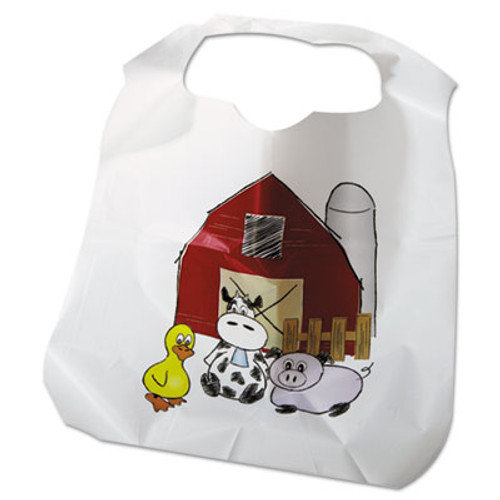 Atlantis Plastics Disposable Child-Size Poly Bibs, Zoo/Farm Pattern, Children's, 250/Carton (ATL2BBCZF)