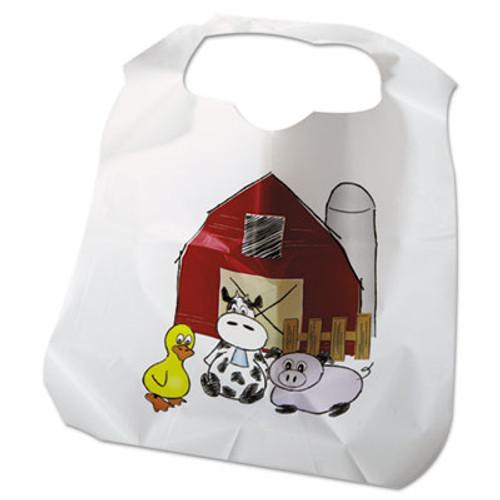 Atlantis Plastics Disposable Child-Size Poly Bibs, Zoo/Farm Pattern, Children's, 250/Carton (ATL2BBCZF)