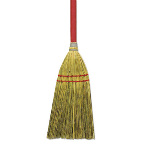 "Boardwalk Blended Straw Toy Broom, Red Headband, 24"" Red Wooden Handle, 12/Carton (BWK BR10018)"