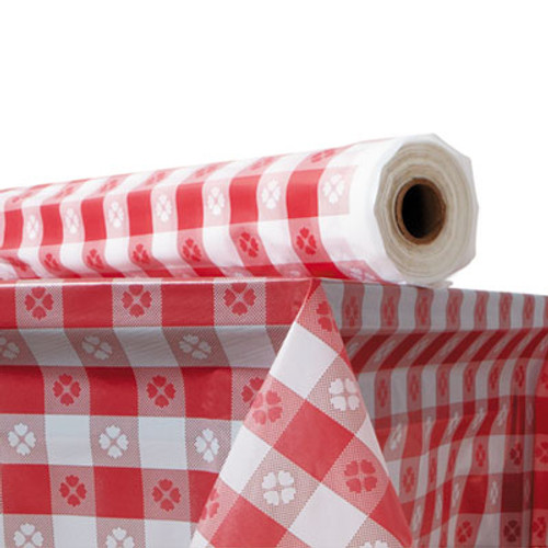 "Atlantis Plastics Plastic Table Cover, 40"" x 300 ft Roll, Red Gingham (ATL2TCR300GIN)"
