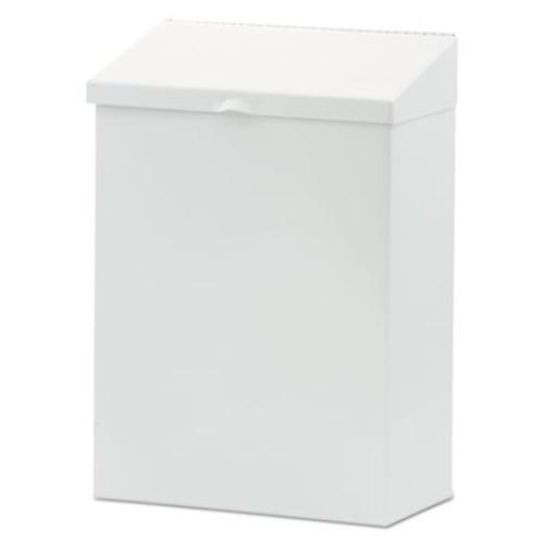 HOSPECO Feminine Hygiene Waste Receptacle, 8 1/4w x 4 1/2d x 11 5/8h, Metal, White (HOS ND-1W)